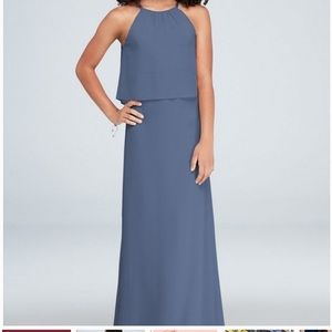 David's Bridal Steel Blue Junior bridesmaid dress